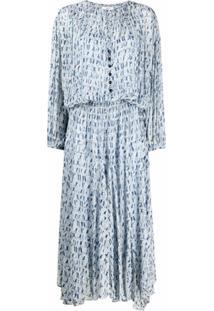 Isabel Marant Étoile Vestido Mangas Longas Com Estampa Tie-Dye - Azul