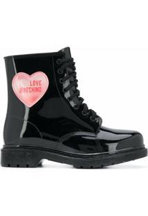 Love Moschino Ankle Boot Com Patch De Coração - Preto