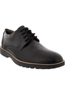 Sapato Social Flat Tratorado Com Textura Preto