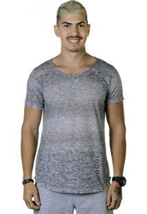 Camiseta Triztam Long Line Lotus Cinza