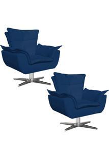 Kit 02 Poltronas Decorativas Gran Opala Base Estrela Em Aã§O Cromado Suede Azul Marinho - D'Rossi - Azul Marinho - Dafiti