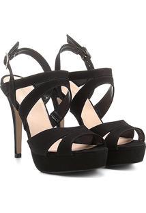 Sandália Couro Shoestock Meia Pata Nobuck Feminina - Feminino-Preto