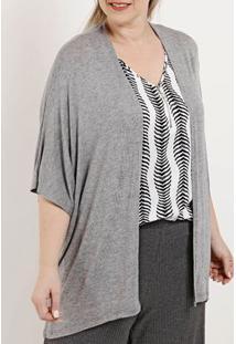 Kimono Manga Curta Plus Size Feminino Autentique Cinza