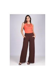 Calça Reta Pantalona Malha Com Bolso Marrom