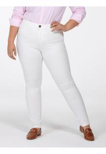 Calça Feminina Plus Size De Sarja Branca Justina