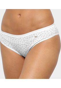 Calcinha Tanga Lupo Mini Print - Feminino-Off White