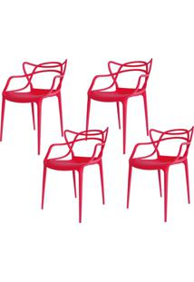 Kit 04 Cadeiras Facthus Amsterdam Vermelho