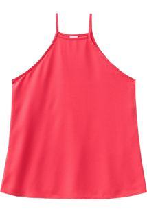 Blusa Lecimar Em Tricoline Viscose Alto Verão Básica Vermelho