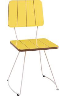 Cadeira Costela Aço Lamina Daf Amarelo