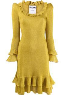 Moschino Vestido Com Babado - Amarelo