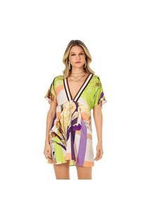 Vestido Morena Rosa Curto Decote V Detalhe Elástico Verde