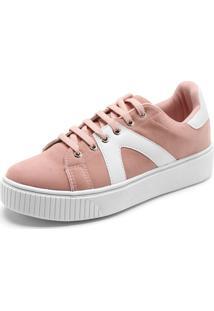 Tênis Fiveblu Camurça Rosa/Branco