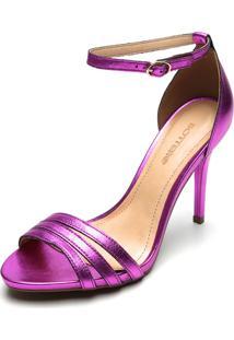 Sandália Couro Bottero Metalizada Pink
