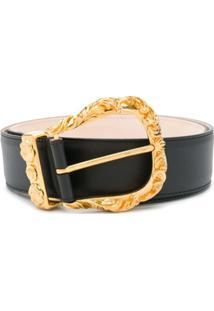 Versace Cinto Barroco Com Fivela - Preto