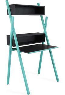 Escrivaninha Moderna Preta E Azul Design Para Quarto De Menino Sue Woodinn - 87X62X158 Cm