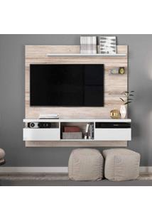 Painel Home Para Tv Até 55 Polegadas 2 Portas E Nichos Antares Colibri Móveis Castanha Rústico/Branco Neve