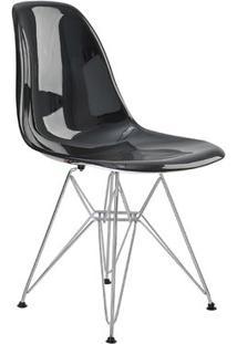 Cadeira Eames Eiffel Rivatti Sem Braço Pc Base Cromada Preto