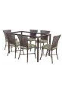 Jogo De Jantar 6 Cadeiras Turquia Pedra Ferro A24 E 1 Mesa Retangular Sem Tampo Ideal Para Área Externa Coberta