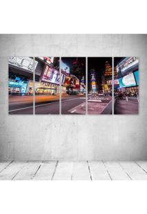 Quadro Decorativo - New York Times Square - Composto De 5 Quadros - Multicolorido - Dafiti