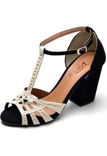 Sandália Top Franca Shoes Salto Alto Grosso Preto / Gelo