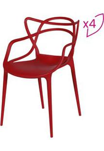 Or Design Jogo De Cadeiras De Jantar Solna Vermelho 4Pã§S