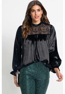 Blusa De Cetim Com Decote Em Renda Preta
