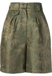 Etro Short Cintura Alta Com Estampa - Verde