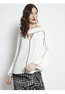 Blusa Com Pespontos & Vazado- Off White & Preta- Forforum