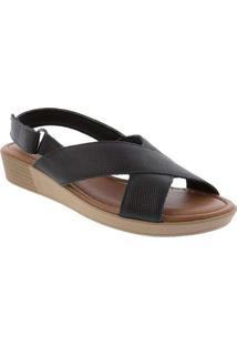 Sandália Usaflex Anabela Com Tiras Cruzadas Preto