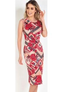 Vestido Tubinho Floral Moda Evangélica