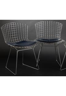 Cadeira Bertoia Cromada Tecido Sintético Preto - Ts Pu