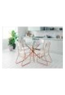Conjunto De Mesa De Jantar Com Tampo De Vidro Incolor Knot E 4 Cadeiras Byron Vinil Branco