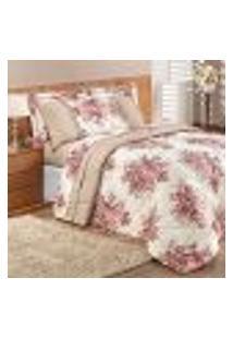 Cobre Leito Rosê Floral Dupla Face 3 Peças Queen Size 2,60M X 2,40M Com Porta Travesseiro