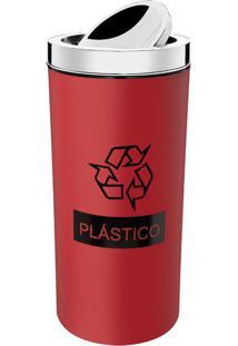 LixeiraSeletiva Vermelha 9L Para Plástico 3102006 Brinox