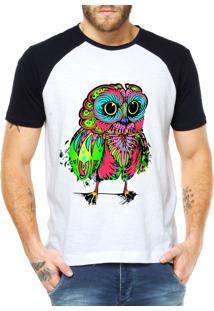 Camiseta Criativa Urbana Raglan Coruja Psicodélica Branca