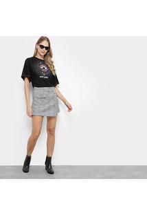 Camiseta Colcci Cropped Estampa Moderna Feminina - Feminino-Preto