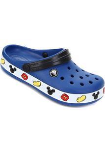 Sandália Crocs Infantil Croband Mickey Clog K - Unissex-Azul Escuro