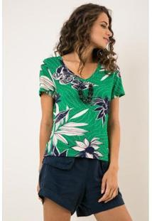 Blusa Ervadoce Decote V Á Fio Viscolycra Estampada Feminina - Feminino-Verde