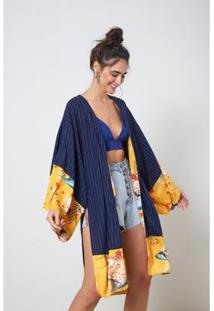 Kimono Mix Com Listra Listra - Oh, Boy! - Feminino