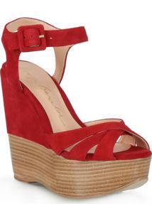 Sandália Plataforma Acamurçada Em Couro- Vermelha & Marrluiza Barcelos