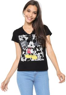 Camiseta Cativa Disney Lace Up Preta