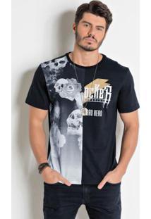 Camiseta Actual Preta Com Estampa Frente