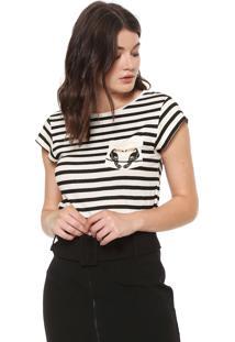 Camiseta Maria Filó Tucano Off-White/Preta