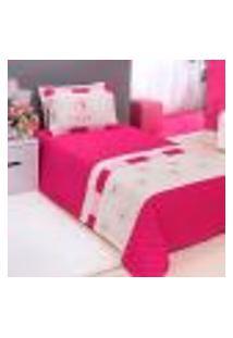 Kit Cobre Leito Solteiro Pink Menina 3 Peças 2,50M X 1,80M Com Porta Travesseiro