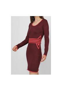 Vestido Tricot Enfim Curto Geométrico Vinho/Rosa