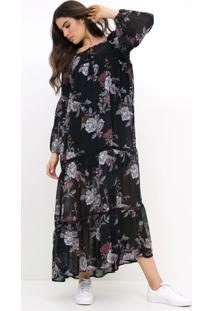 Vestido Longo Floral Com Babados
