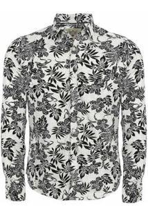 Camisa Manga Longa Aes 1975 Floral Masculina - Masculino-Branco