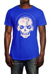 Camiseta Hshop White Skull - Azul Turquesa