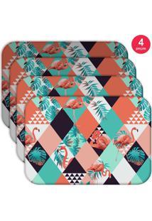 Jogo Americano Love Decor Wevans Flamingos Triângulos Kit Com 4 Pçs