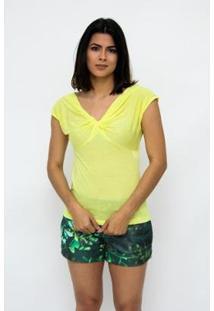 Blusa Clara Arruda Decote Nó Feminina - Feminino-Amarelo